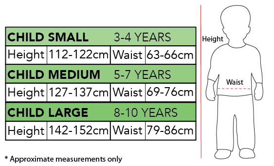 Sizing Chart - Aquaman Classic Costume Child